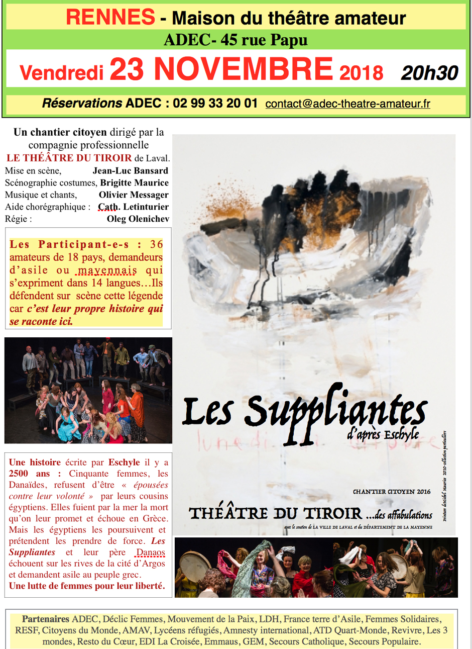Les suppliantes ADEC Rennes 23 novembre 2018