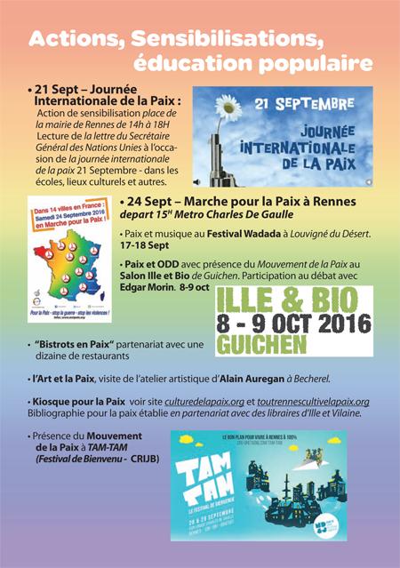 Programme de Tout Rennes Cultive la Paix 2016